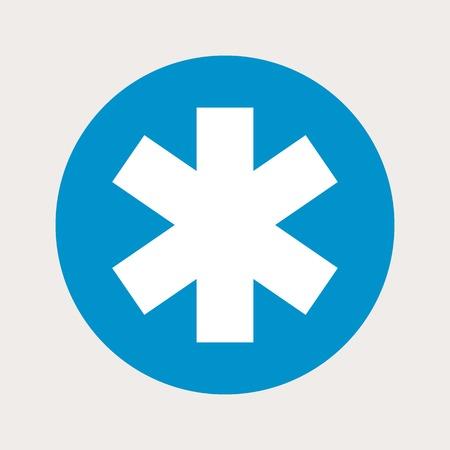 esculapio: ilustraci�n vectorial de la moderna b icono lue m�dica