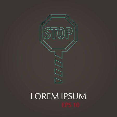 lack: vector illustration of modern b lack icon stop