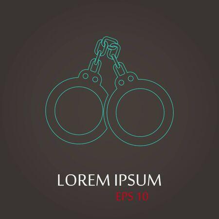 permit: vector illustration of modern b lack icon police handcuffs