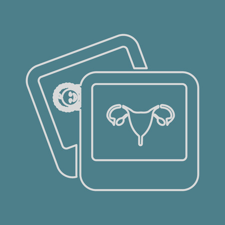 endometrium: vector illustration of modern b lack icon woman organs