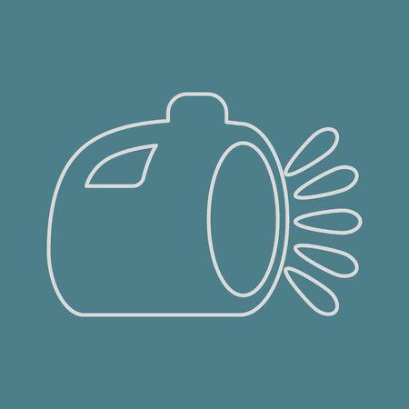 electric torch: vector illustration of modern b lack icon lantern