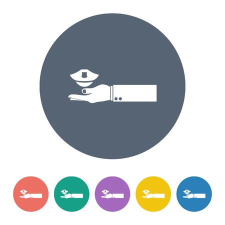 gorra polic�a: ilustraci�n vectorial de la moderna b falta tapa icono de la polic�a