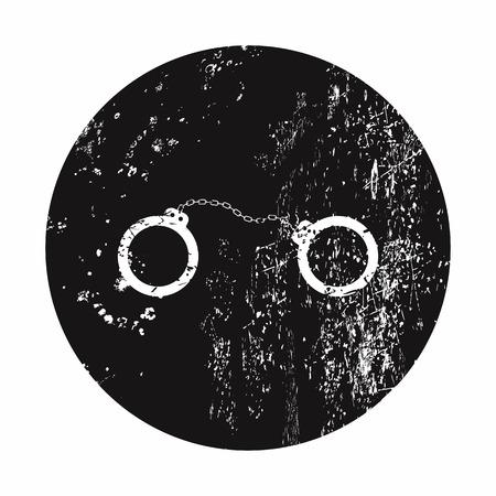 bind: vector illustration of modern b lack icon police handcuffs
