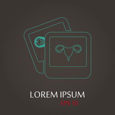 endometrium: vector illustration of modern b lack icon woman organs