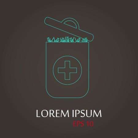lack: vector illustration of modern b lack icon trashcan