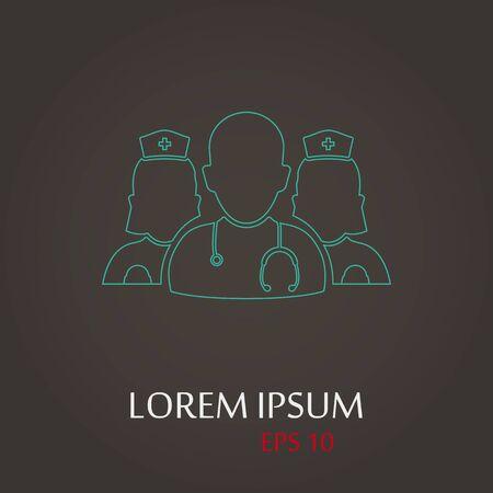 medical staff: vector illustration of modern b lack icon medical staff Illustration