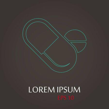 lack: vector illustration of modern b lack icon pills