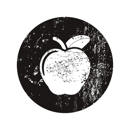 jogging in nature: vector illustration of modern silhouette icon apple