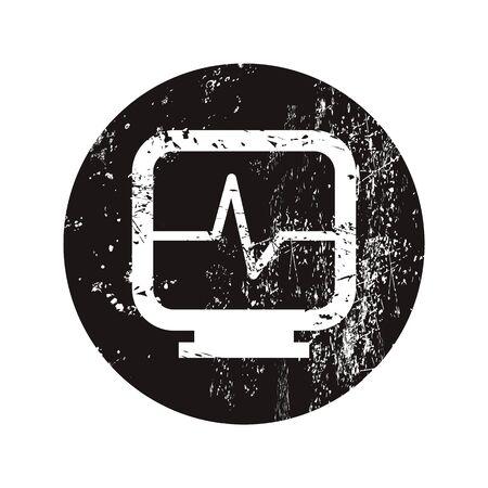 pulsating: vector illustration of modern b lack icon heart monitor
