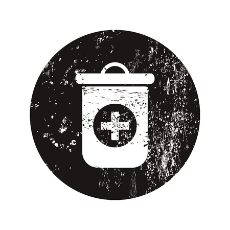 medical waste: vector illustration of modern black icon trashcan Illustration