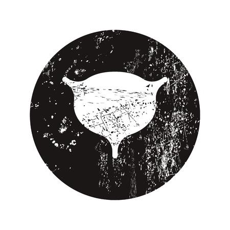 cystitis: vector illustration of modern b lack icon bladder