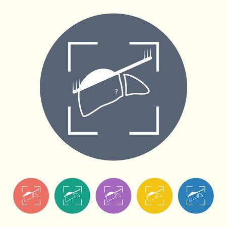 bile: vector illustration of modern black icon scanning liver