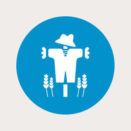 autumn scarecrow: Vector illustration of modern farm icon