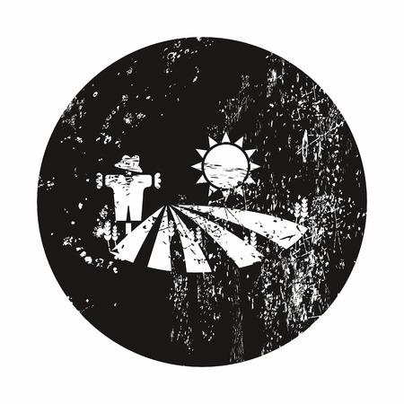 agrarian: Vector illustration of modern farm icon