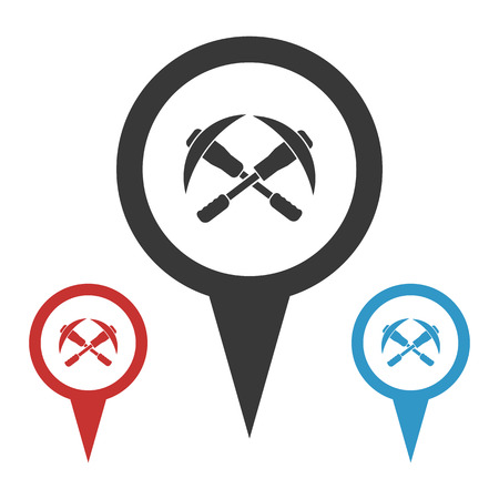 ice axe: Vector illustration of travel and vacation icons