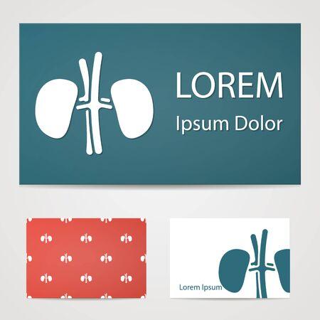ureter: illustration of modern b lack icon kidneys