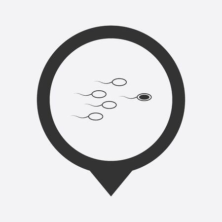 procreation: illustration of modern b lack icon sperm