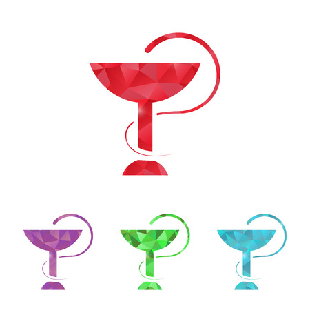 health symbols metaphors: illustration of modern b lack icon medical bowls