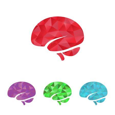 brain illustration:  illustration of modern b lack icon brain
