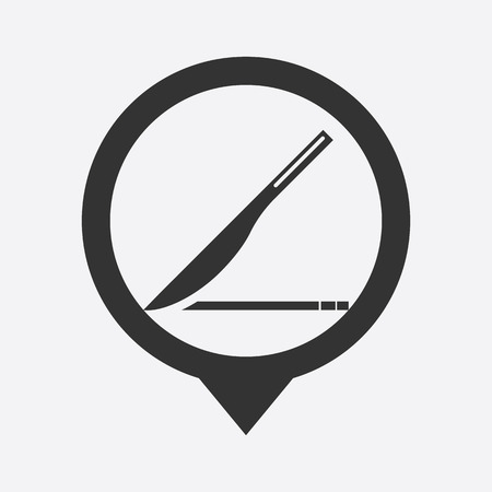 scalpel:  illustration of modern b lack icon scalpel Illustration