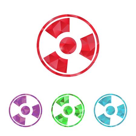 caesium: illustration of modern b lack icon radiation