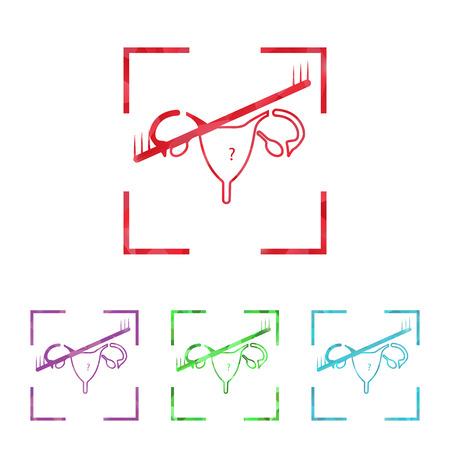uterine: illustration of modern b lack icon woman organ