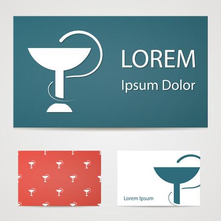 science symbols metaphors: illustration of modern b lack icon medical bowls