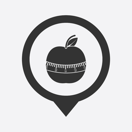jogging in nature: illustration of modern silhouette icon apple