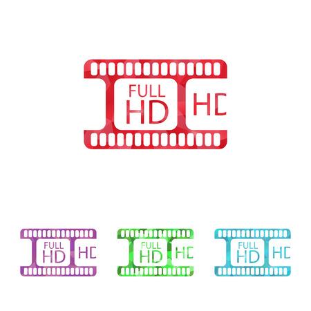 photo real: illustration of modern b lack icon frame cinema