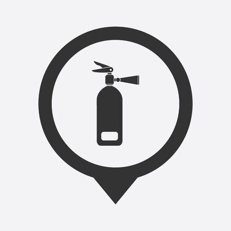 illustration of modern b lack icon fire extinguisher
