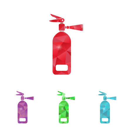disaster prevention: illustration of modern b lack icon fire extinguisher
