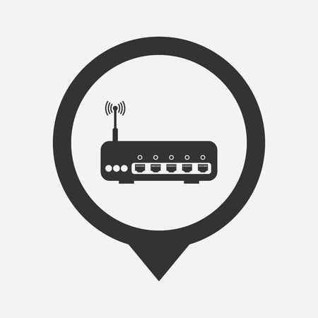 dsl: illustration of modern b lack icon router