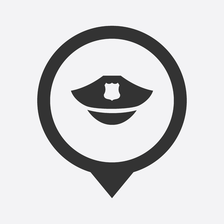 gorra polic�a: ilustraci�n de la moderna b falta casquillo icono de la polic�a
