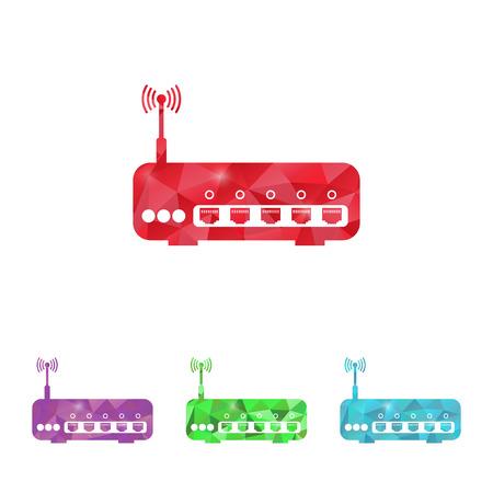 dsl: illustrazione vettoriale della moderna b router icona mancanza Vettoriali