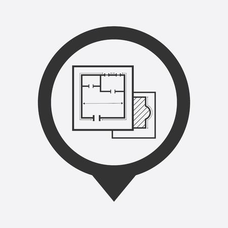 draught: illustration of vector building modern icon in design Illustration