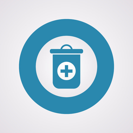 medical waste: vector illustration of modern b lack icon trashcan
