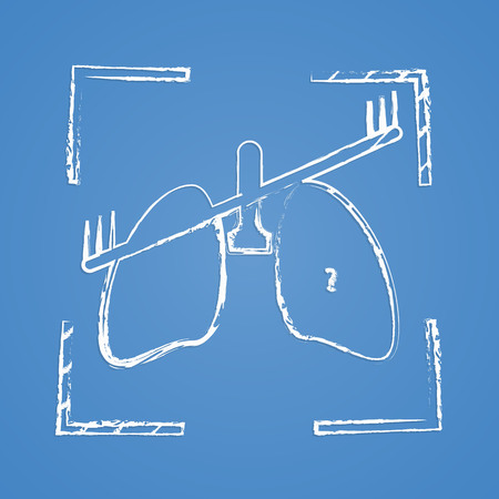 inhaling: vector illustration of modern b lack icon lungs