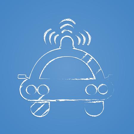 patrolman: vector illustration of modern b lack icon spotlight