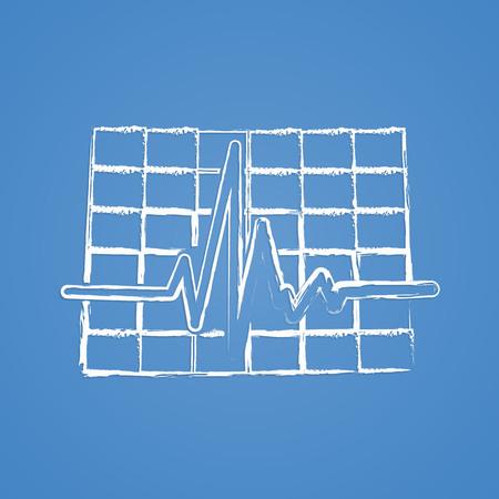 oscilloscope: vector illustration of modern b lack icon pulse