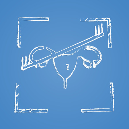 uterine: vector illustration of modern b lack icon woman organ