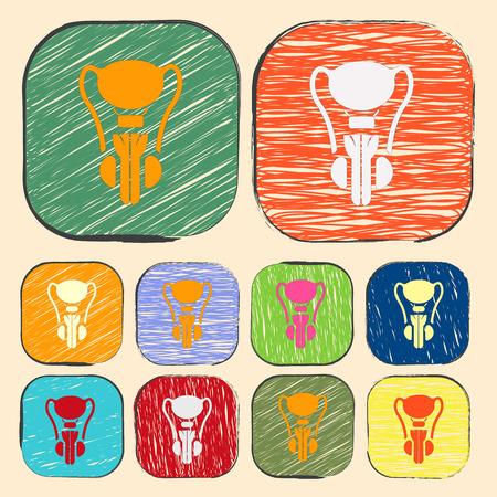 testiculos: ilustración vectorial de la moderna b falta de órganos icono masculino