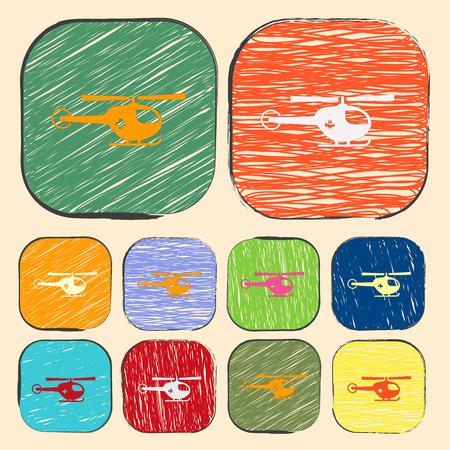 emergency engine: vector illustration of modern b lack icon helicopter Illustration