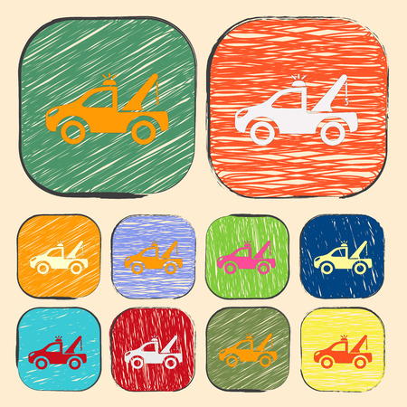 wrecker: Vector illustration of modern auto repair icon