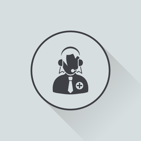 sales representative: vector illustration of modern b lack icon dispatcher