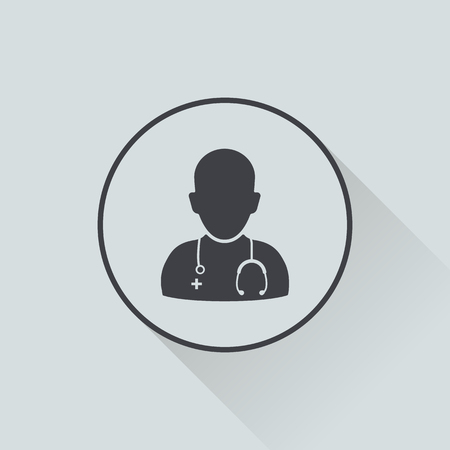 sick malady: vector illustration of modern b lack icon doctor Illustration