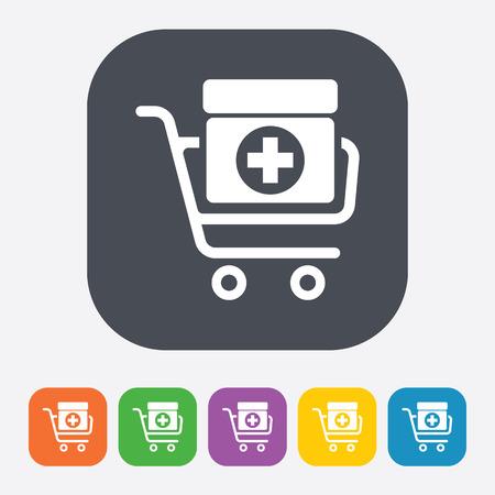 simplistic icon: vector illustration of modern b lack icon medicines