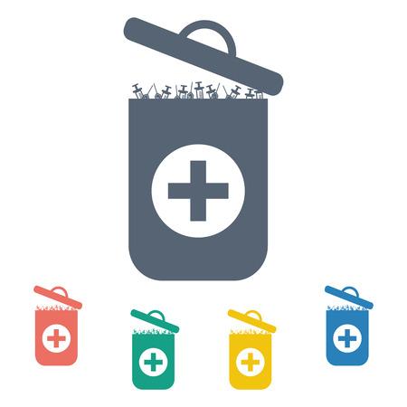 sewage: vector illustration of modern b lack icon trashcan