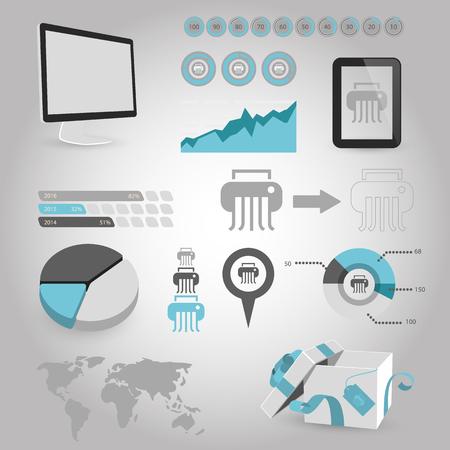 shred: illustration of vector office modern icon in design