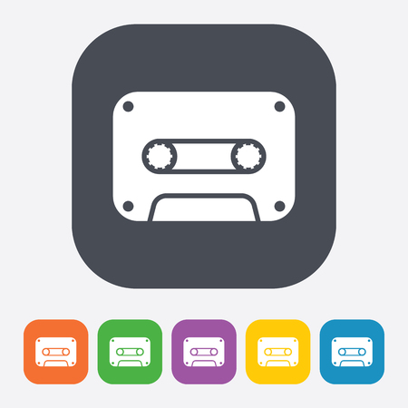 compact cassette: vector illustration of modern b lack icon cassette
