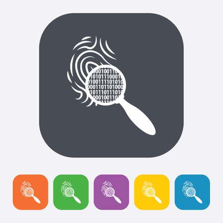 data theft: vector illustration of modern b lack icon fingerprint